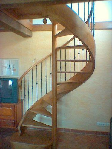 Photo escalier hélicoïdal sans contre marche balustre métallique et bague
